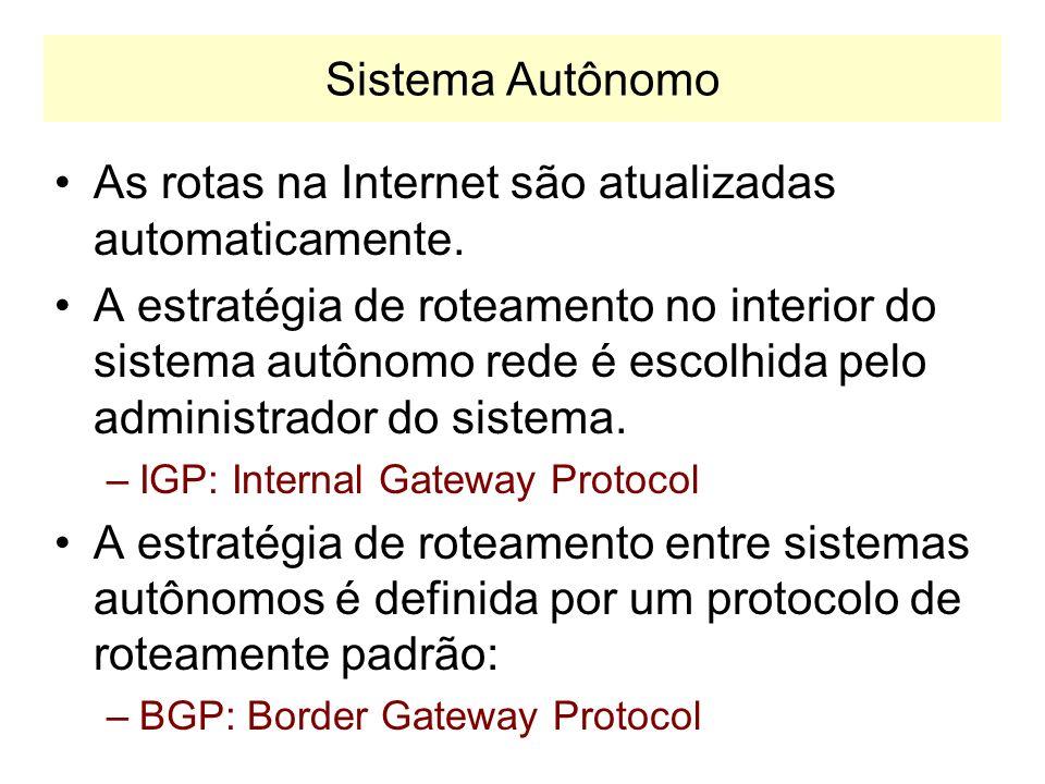 As rotas na Internet são atualizadas automaticamente.