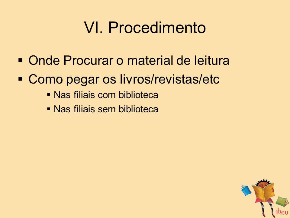 VI. Procedimento Onde Procurar o material de leitura