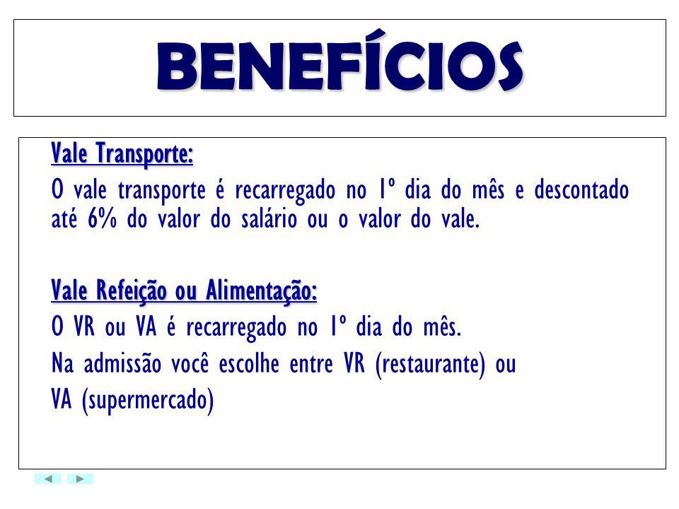 BENEFÍCIOS Vale Transporte: