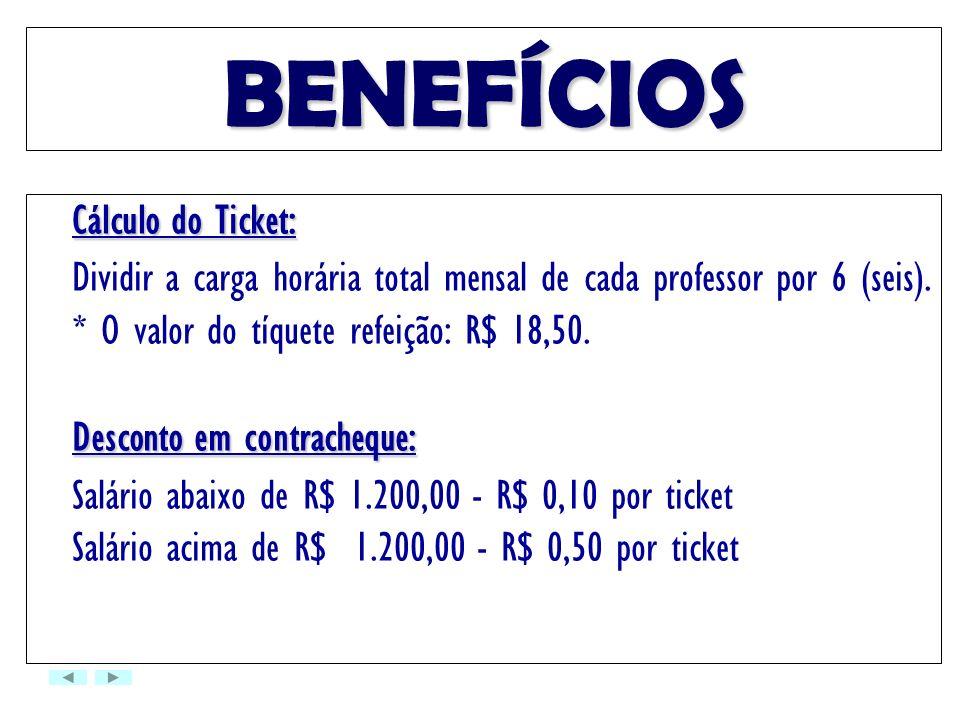 BENEFÍCIOSCálculo do Ticket: Dividir a carga horária total mensal de cada professor por 6 (seis). * O valor do tíquete refeição: R$ 18,50.