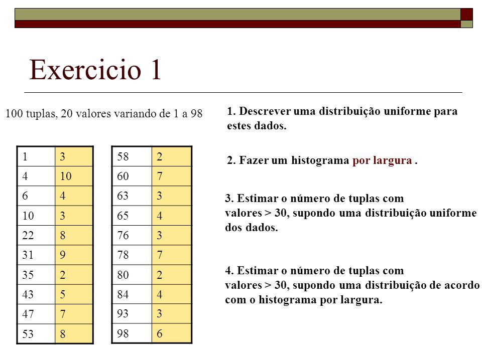 Exercicio 1 100 tuplas, 20 valores variando de 1 a 98