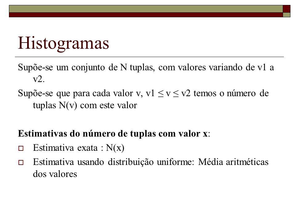Histogramas Supõe-se um conjunto de N tuplas, com valores variando de v1 a v2.