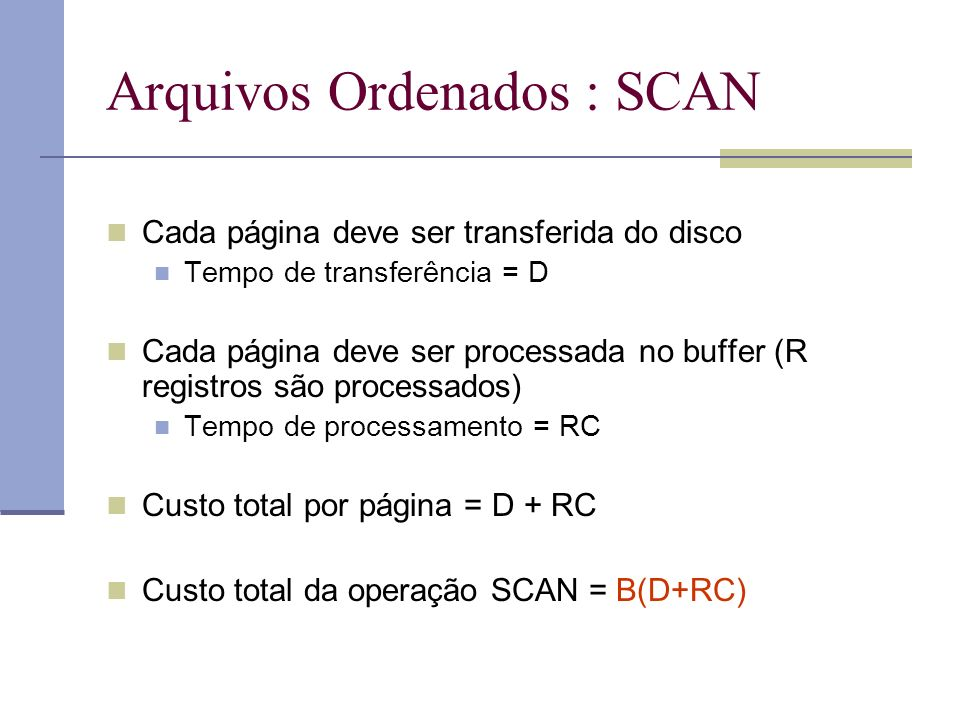 Arquivos Ordenados : SCAN