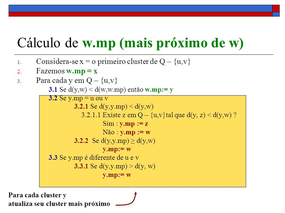 Cálculo de w.mp (mais próximo de w)