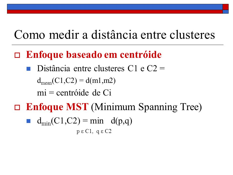 Como medir a distância entre clusteres