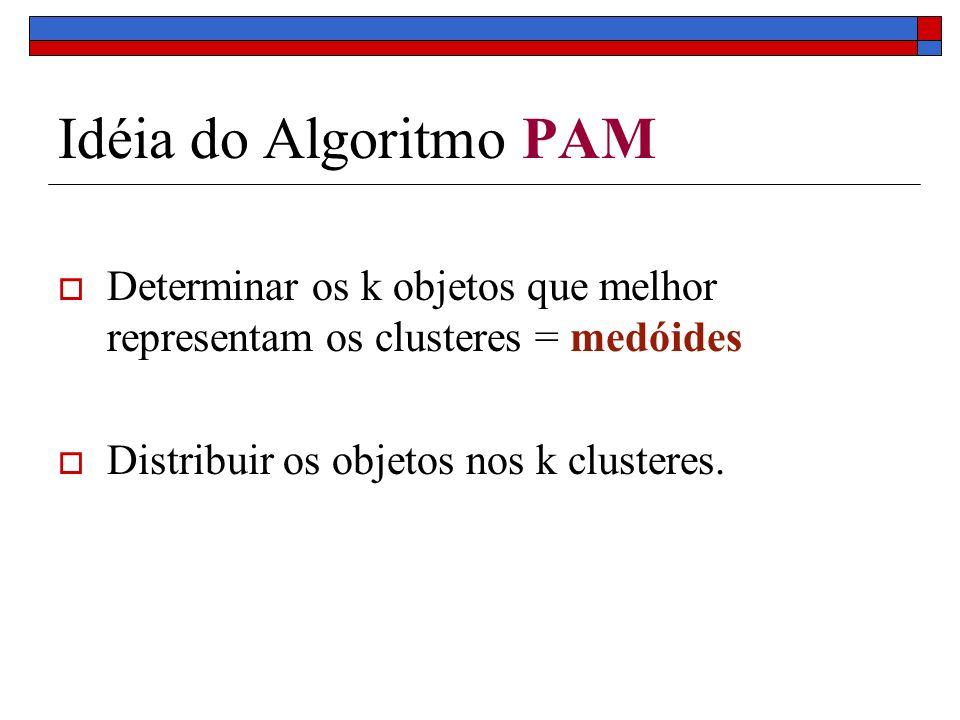 Idéia do Algoritmo PAM Determinar os k objetos que melhor representam os clusteres = medóides.