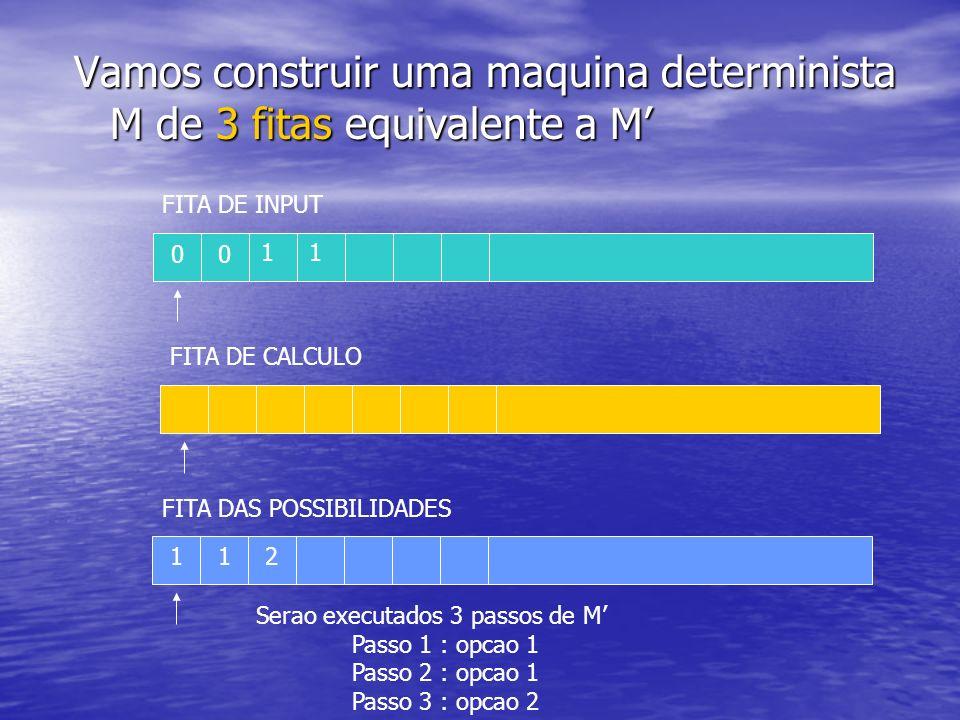 Vamos construir uma maquina determinista M de 3 fitas equivalente a M'