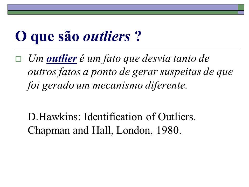 O que são outliers Um outlier é um fato que desvia tanto de outros fatos a ponto de gerar suspeitas de que foi gerado um mecanismo diferente.