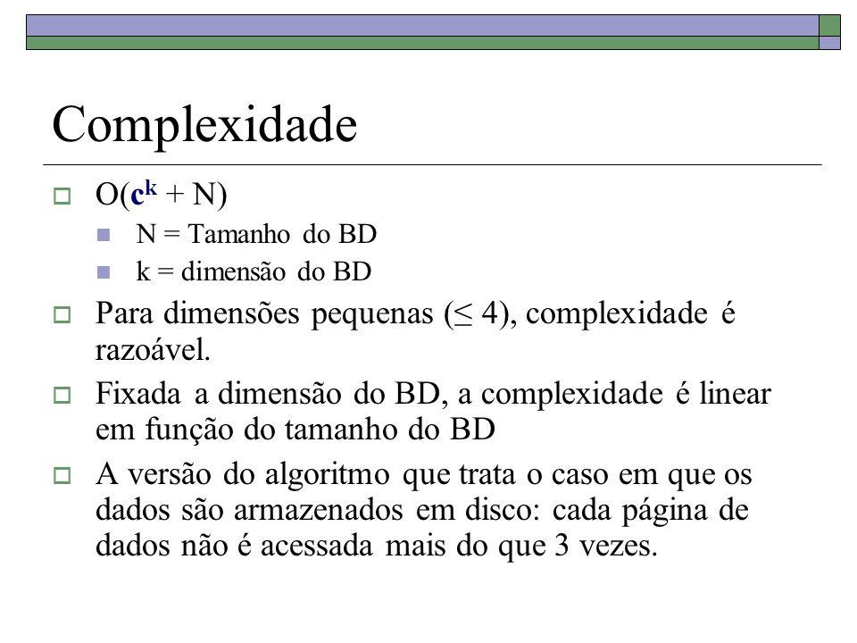Complexidade O(ck + N) N = Tamanho do BD. k = dimensão do BD. Para dimensões pequenas (≤ 4), complexidade é razoável.