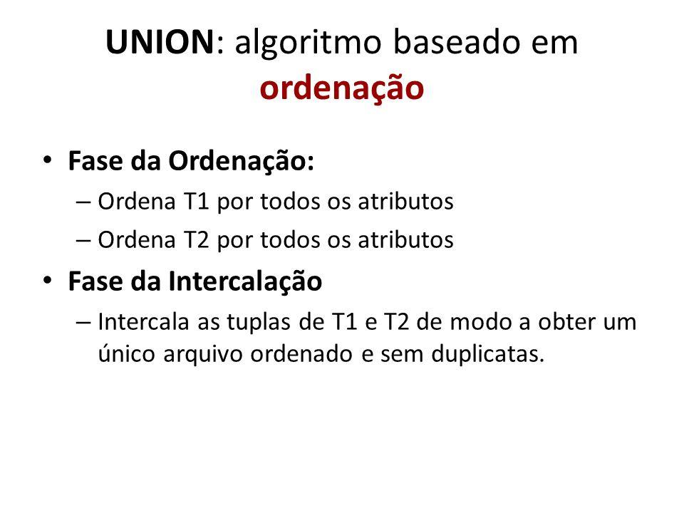 UNION: algoritmo baseado em ordenação