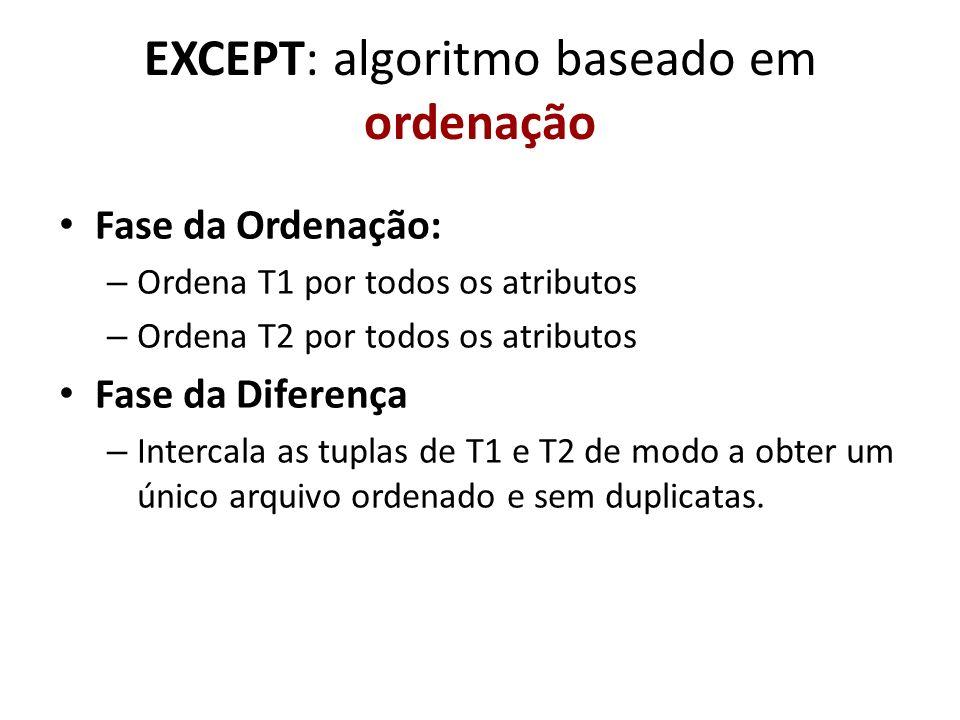 EXCEPT: algoritmo baseado em ordenação