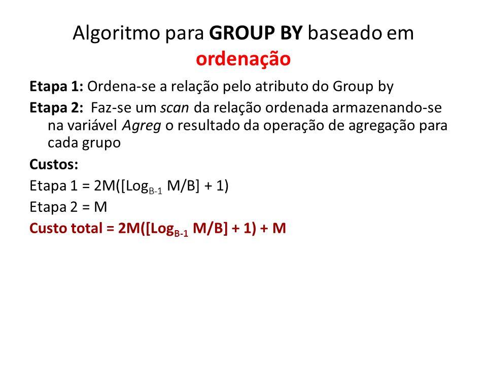 Algoritmo para GROUP BY baseado em ordenação