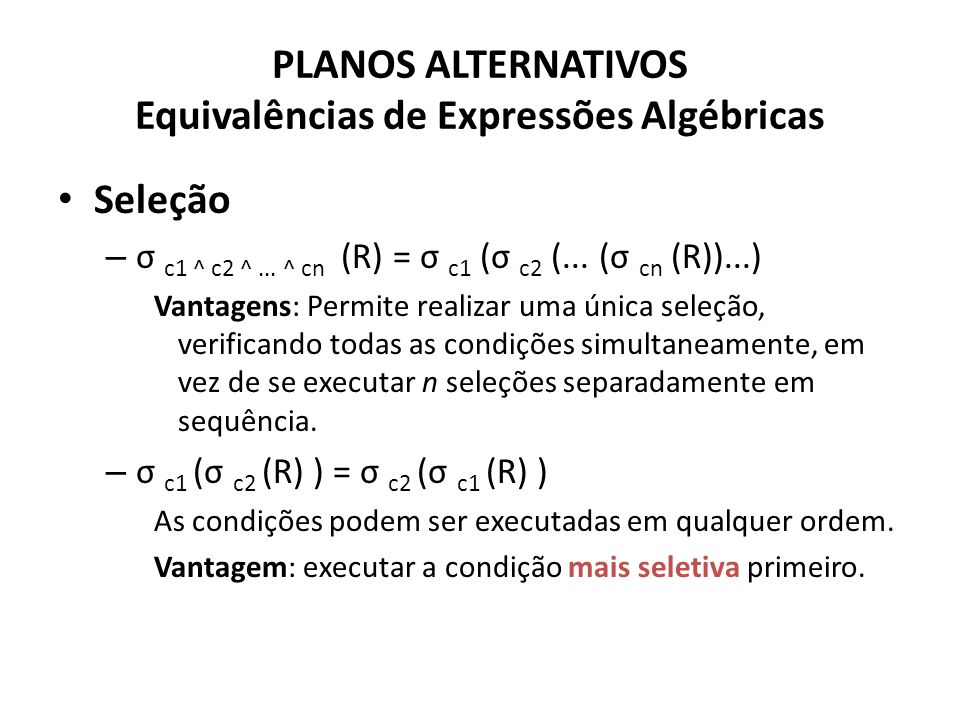 PLANOS ALTERNATIVOS Equivalências de Expressões Algébricas