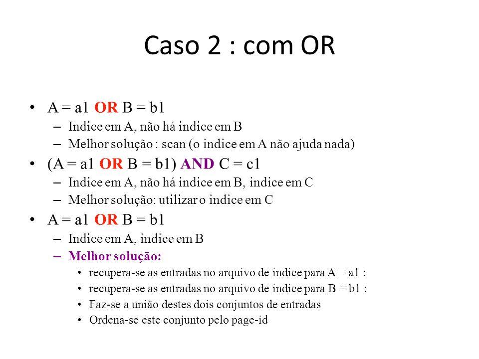 Caso 2 : com OR A = a1 OR B = b1 (A = a1 OR B = b1) AND C = c1