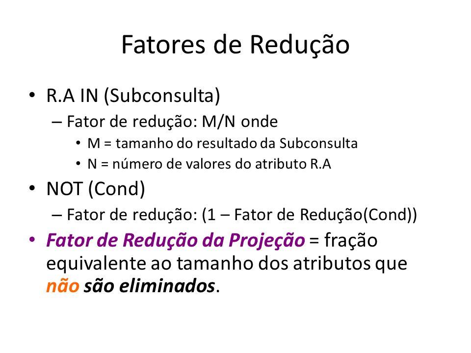 Fatores de Redução R.A IN (Subconsulta) NOT (Cond)