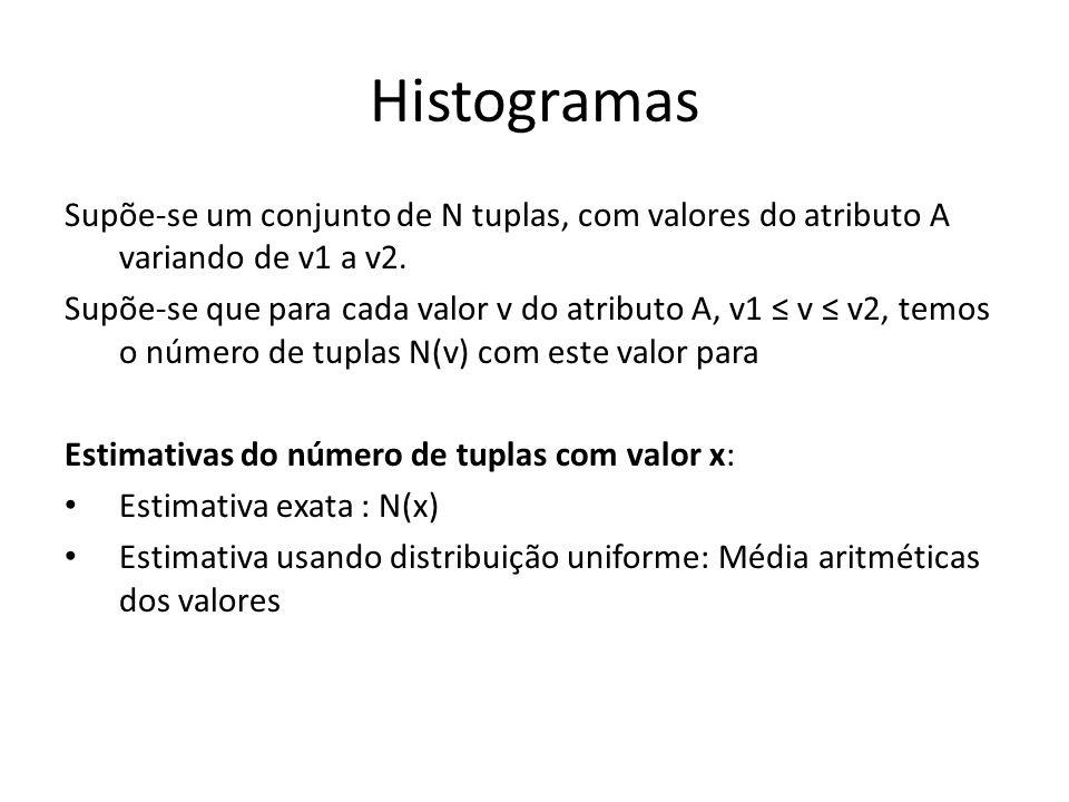 Histogramas Supõe-se um conjunto de N tuplas, com valores do atributo A variando de v1 a v2.