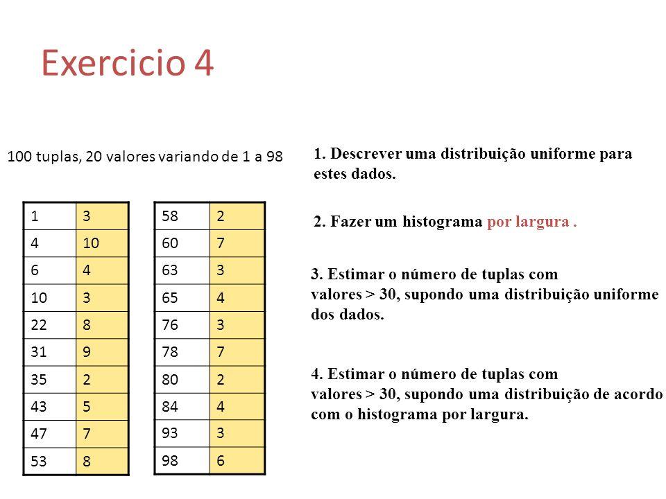 Exercicio 4 100 tuplas, 20 valores variando de 1 a 98