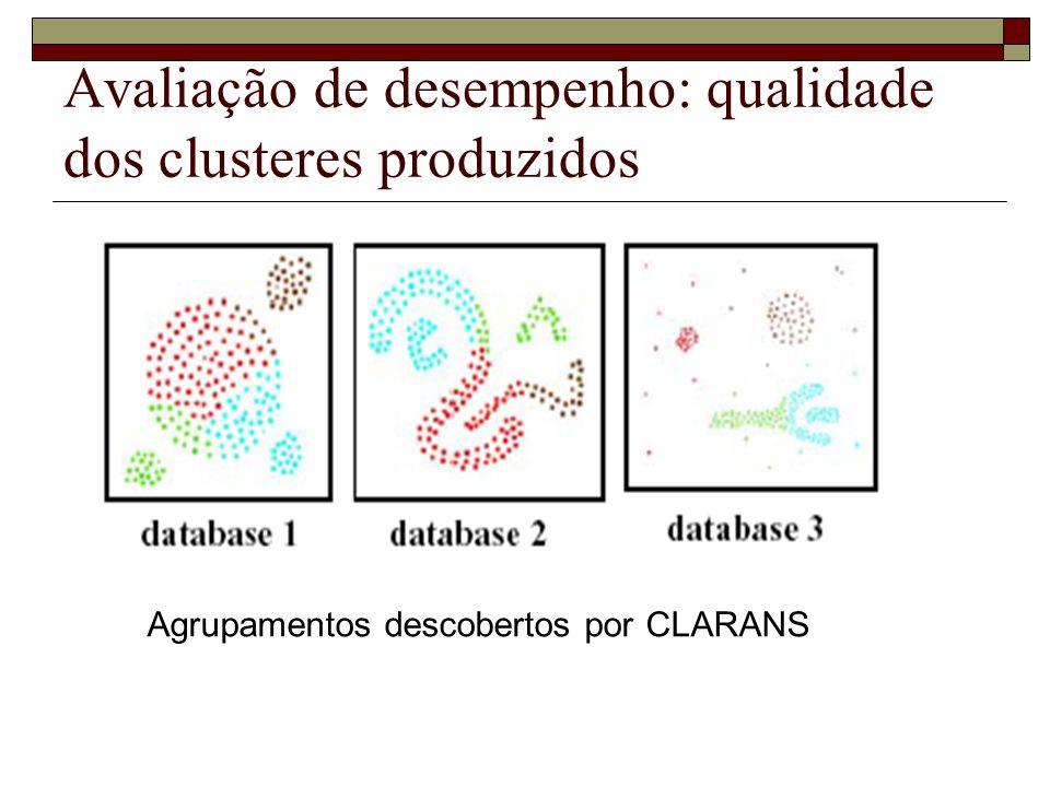 Avaliação de desempenho: qualidade dos clusteres produzidos