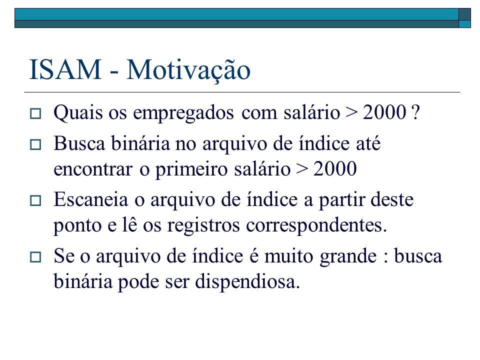 ISAM - Motivação Quais os empregados com salário > 2000