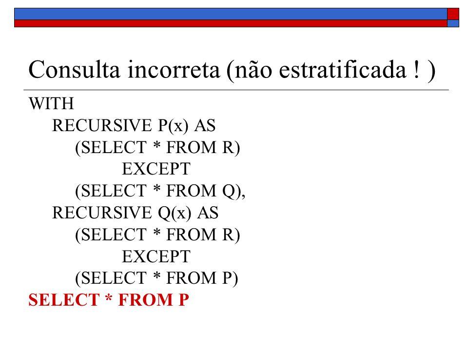 Consulta incorreta (não estratificada ! )