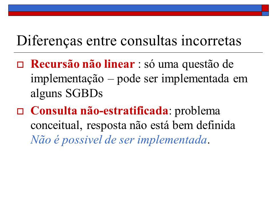 Diferenças entre consultas incorretas