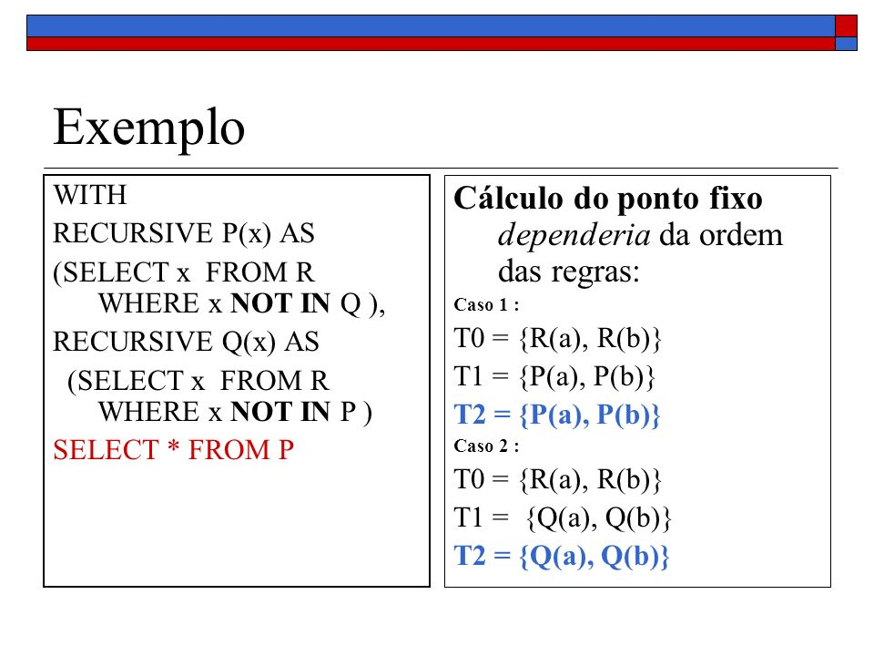 Exemplo Cálculo do ponto fixo dependeria da ordem das regras: WITH