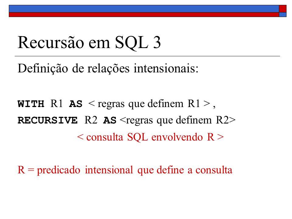 Recursão em SQL 3 Definição de relações intensionais: