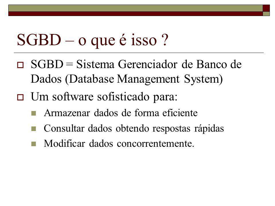 SGBD – o que é isso SGBD = Sistema Gerenciador de Banco de Dados (Database Management System) Um software sofisticado para: