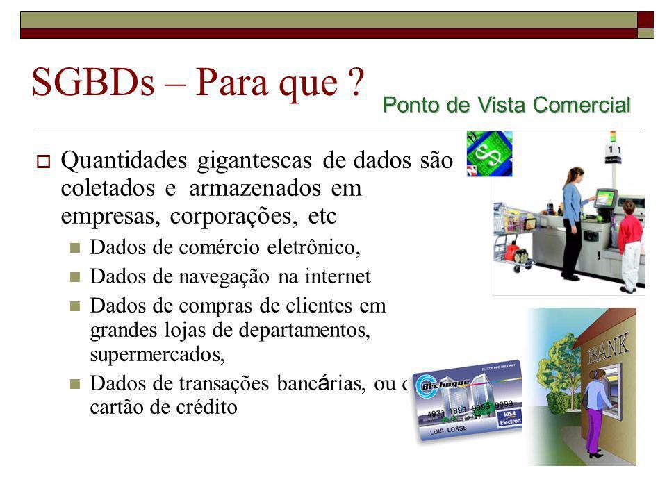 SGBDs – Para que Ponto de Vista Comercial. Quantidades gigantescas de dados são coletados e armazenados em empresas, corporações, etc.