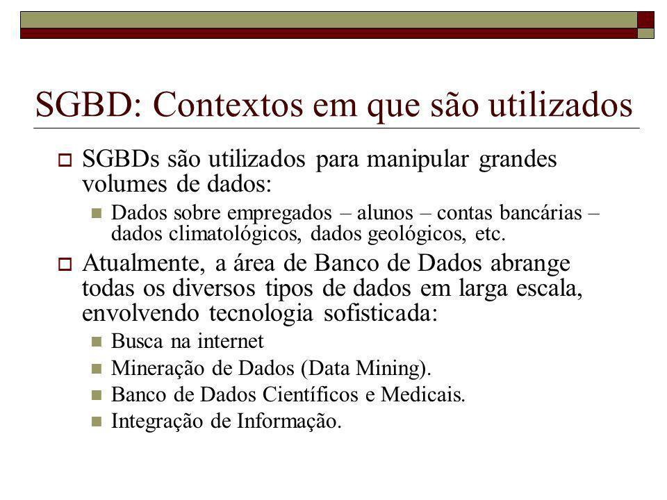 SGBD: Contextos em que são utilizados
