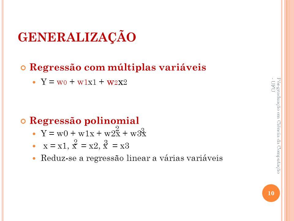 GENERALIZAÇÃO Regressão com múltiplas variáveis Regressão polinomial