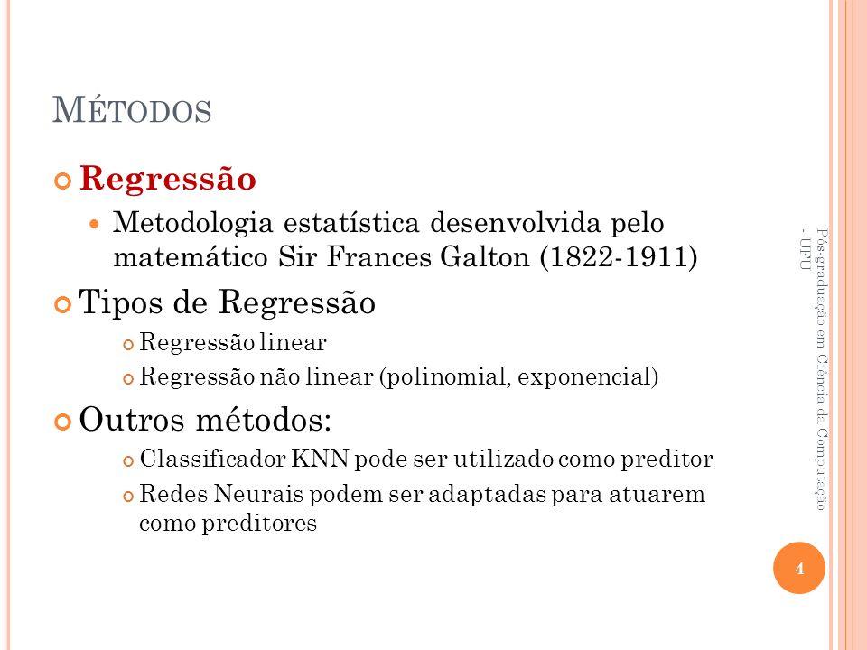 Métodos Regressão Tipos de Regressão Outros métodos: