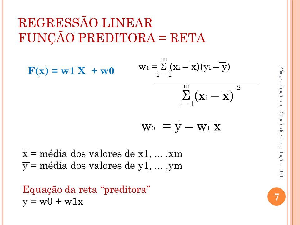 REGRESSÃO LINEAR FUNÇÃO PREDITORA = RETA