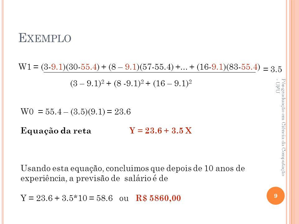 Exemplo W1 = (3-9.1)(30-55.4) + (8 – 9.1)(57-55.4) +... + (16-9.1)(83-55.4) = 3.5. (3 – 9.1)2 + (8 -9.1)2 + (16 – 9.1)2.