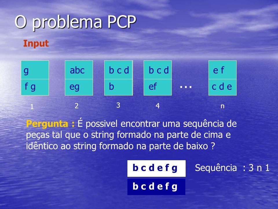 O problema PCP … Input g f g g f g b c d b b c d b e f c d e e f c d e