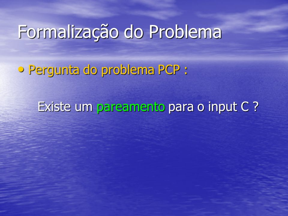 Formalização do Problema