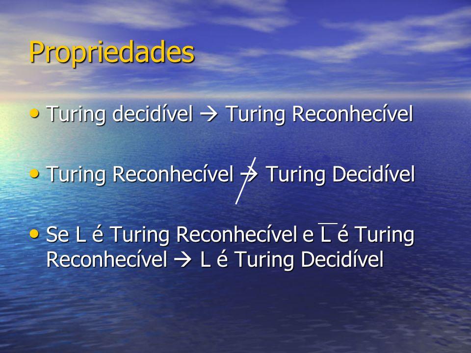 Propriedades Turing decidível  Turing Reconhecível