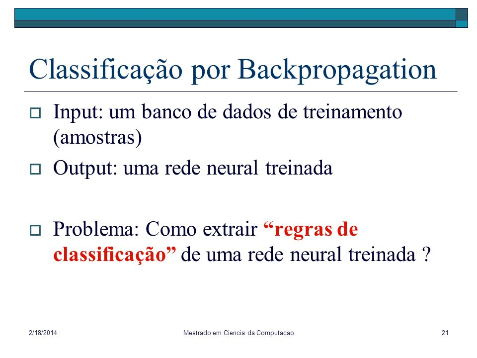 Classificação por Backpropagation