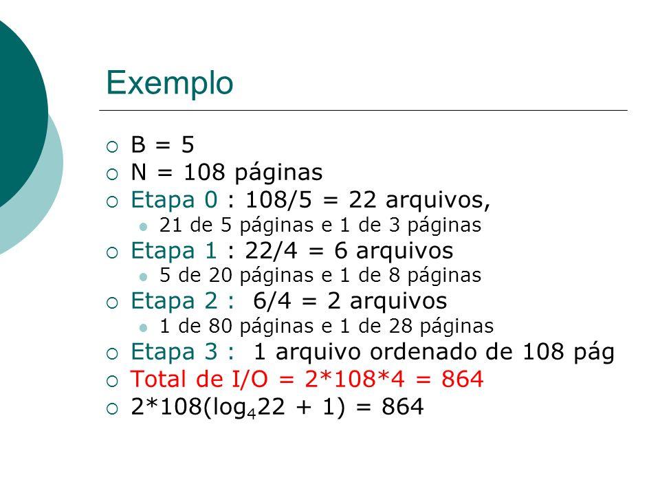 Exemplo B = 5 N = 108 páginas Etapa 0 : 108/5 = 22 arquivos,