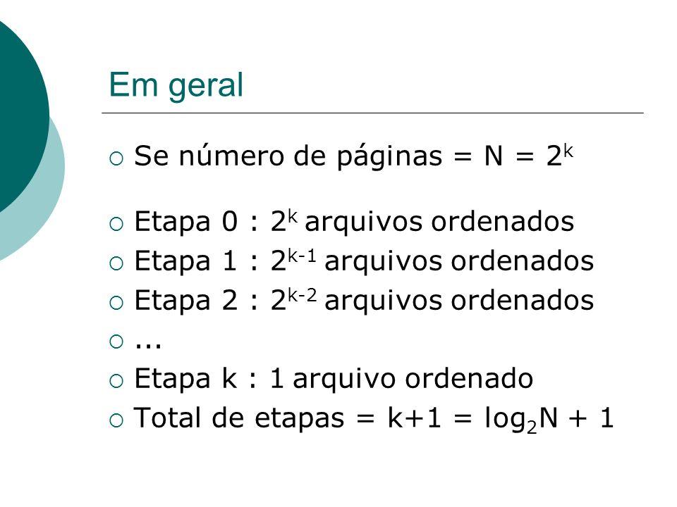 Em geral Se número de páginas = N = 2k Etapa 0 : 2k arquivos ordenados