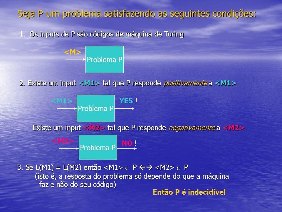 Seja P um problema satisfazendo as seguintes condições: