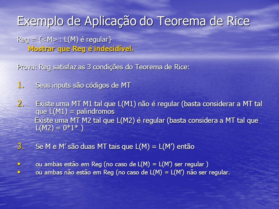 Exemplo de Aplicação do Teorema de Rice