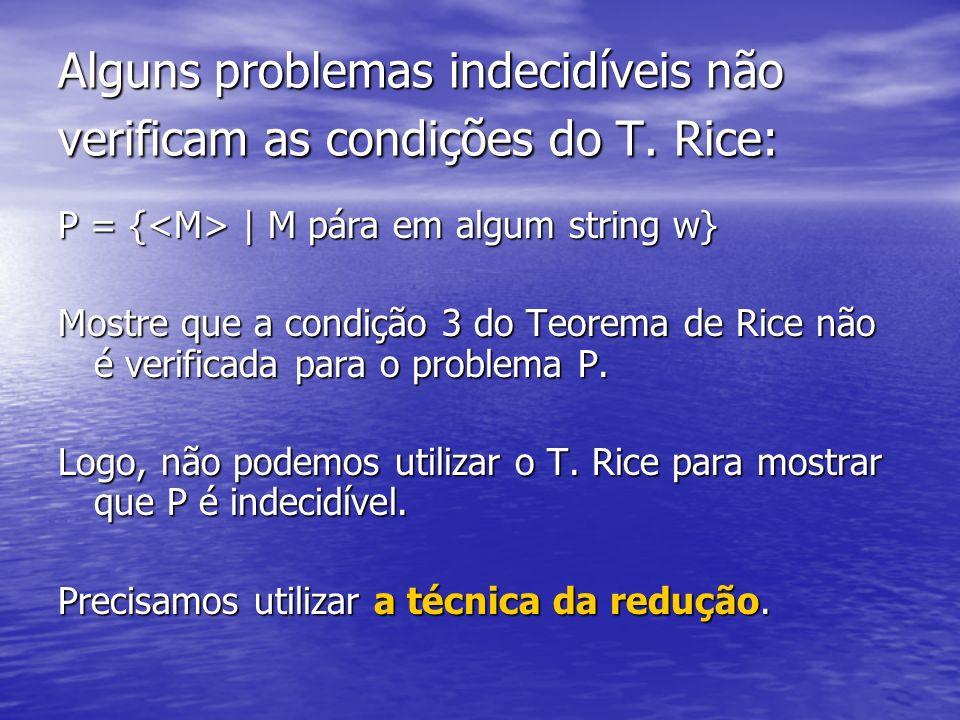 Alguns problemas indecidíveis não verificam as condições do T. Rice: