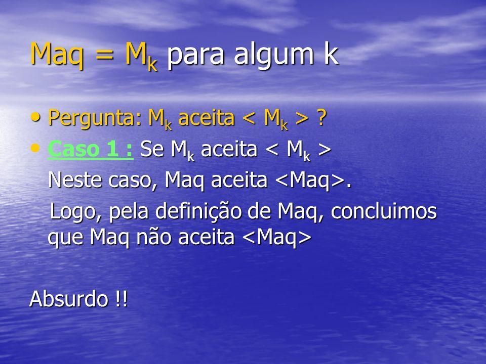 Maq = Mk para algum k Pergunta: Mk aceita < Mk >