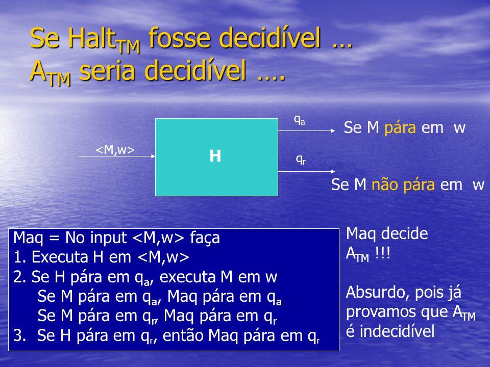 Se HaltTM fosse decidível … ATM seria decidível ….