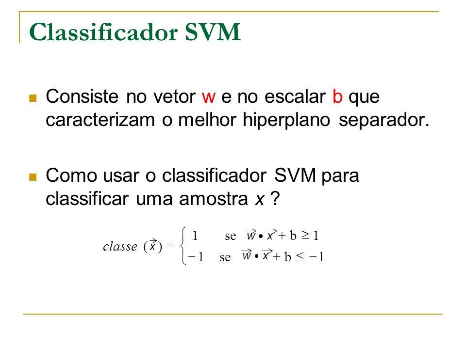Classificador SVMConsiste no vetor w e no escalar b que caracterizam o melhor hiperplano separador.