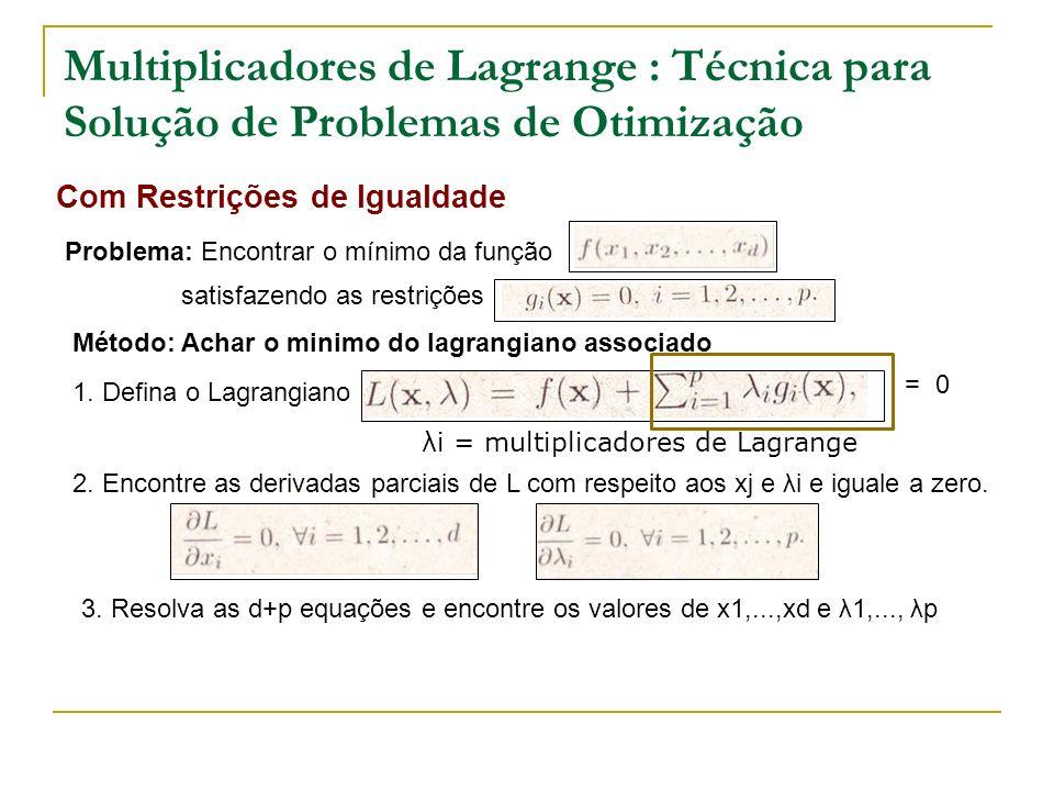 Multiplicadores de Lagrange : Técnica para Solução de Problemas de Otimização