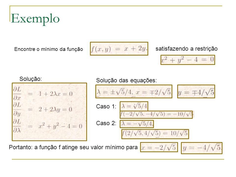 Exemplo satisfazendo a restrição Solução: Solução das equações:
