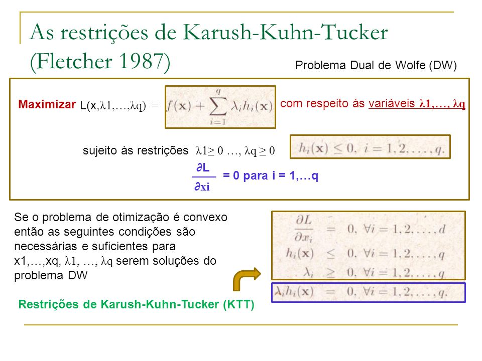 As restrições de Karush-Kuhn-Tucker (Fletcher 1987)
