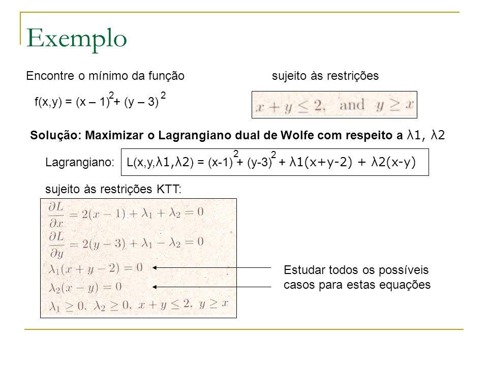 Exemplo Encontre o mínimo da função sujeito às restrições
